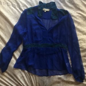 Anthropologie Tops - Blue silk Anthropologie blouse